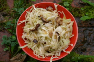 chinesischer Krautsalat mit Pilzen